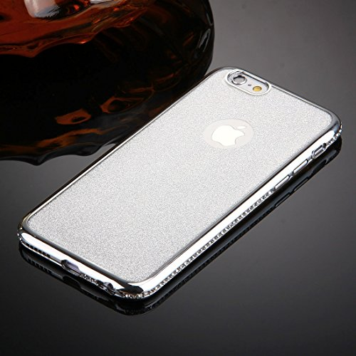 iPhone 6S Plus & 6 Plus Hülle Glitzer-Strass Case Schutzhülle (5,5 Zoll) im stylishen Glamour glitzer Crystal Look mit Strassteinen und Aufdruck für das iPhone 6S-6 Plus - Farbe: Rosé -Rose - Nur orig Silber - Glitzerrückseite