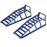 2 x Auffahrrampen Wagenheber PKW Auffahrbock Auffahrböcke Böcke Rampen pro 2Tonnen bis 210mm Reifenbreite Stahl Blau Paar