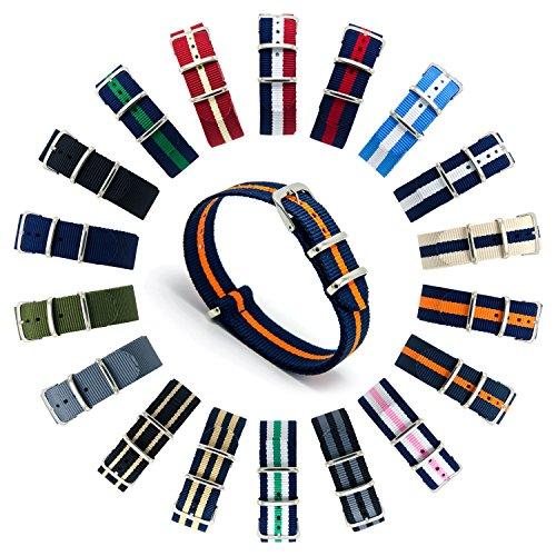 CIVO Cinturini NATO Premium Balistico Nylon Cinturino Cinghia Strap con Fibbia in Acciaio inox 22 Millimetri 18 Millimetri 20 Millimetri (Dark Grey/Pumpkin, 22mm)