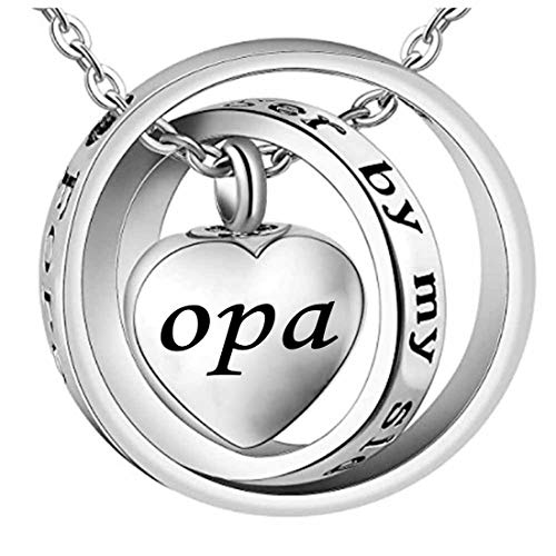 misyou No Longer by My Side,Forever in My Heart Medaillon Urne Halskette für Papa & Mama & Opa & oma, Metall, Opa, 20 mm - Medaillon Mama Halskette