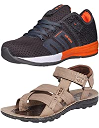Ethics Perfect Stylish Combo Pack Of Orange Sports Shoes & Brown Sandal For Men's