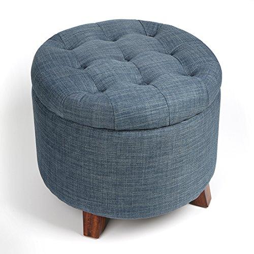 Foto de Taburete Silla Sofa de Almacenaje Cesto Cubo Caja para Almacenamiento con Patas de Madera en Color Azul Oxford