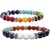 JOVIVI 2x Damen Herren Reiki-Energietherapie Yoga-Armband 7 Chakra Healing Balance Stein Armband Armreif Elastisches preisvergleich bei billige-tabletten.eu