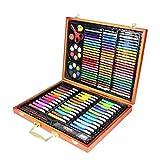 Boîte à outils en bois pour cadeau de peinture pour enfants, ensemble de papeterie pour enfants (150 pièces)
