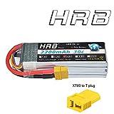 HRB 4S 14.8V 2200mAh 30C RC Akku Lipo Batterie mit XT60 Stecker für RC Auto, RC LKW, RC Flugzeug, RC Hubschrauber, RC Boot, Mini Hubschrauber, Quadcopter, FPV(XT60,XT60-T Stecker )