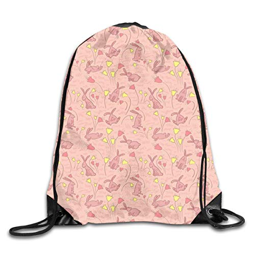 EELKKO Drawstring Backpack Gym Bags Storage Backpack, Bunnies with Flowers Pastel Spring Flora and Fauna Illustration,Deluxe Bundle Backpack Outdoor Sports Portable Daypack