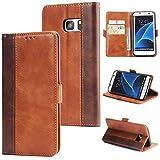 DENDICO Galaxy S7 Edge Hülle, Premium Leder Wallet Tasche Flip Schutzhülle für Samsung Galaxy S7 Edge, Handytasche Klappbar Tasche Flip Case - Braun