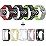 Apple Watch Band 42mm 38mm, oitom Weich Atmungsaktiv Ersatz-Armband Silikon Träger mit vergoldet TPU Schutzhülle für Apple Armbanduhr Nike +, Series 1, Series 2, Sport, Apple Watch Edition Mix Farbe