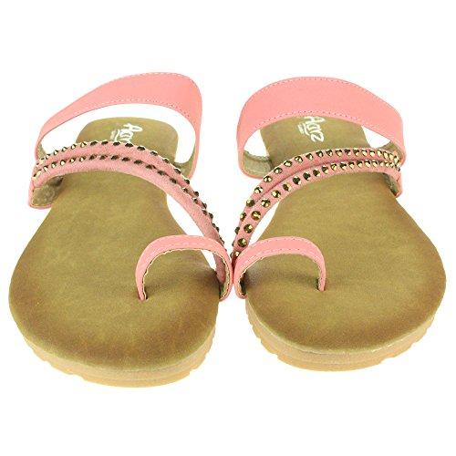 Frau Damen Zehenring Strappy Sommer Strand Open Toe Beiläufige Party Komfort Flache Sandale Schuhe Größe Rosa