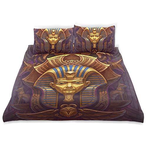 Vipsa Kinder-Bettwäsche-Set Pharao Muster 3-teilig Bettwäsche Set 100% Baumwolle mit Reißverschluss Bio-Modern Comforter Set Full/Queen (Bettwäsche Bio-queen Set)