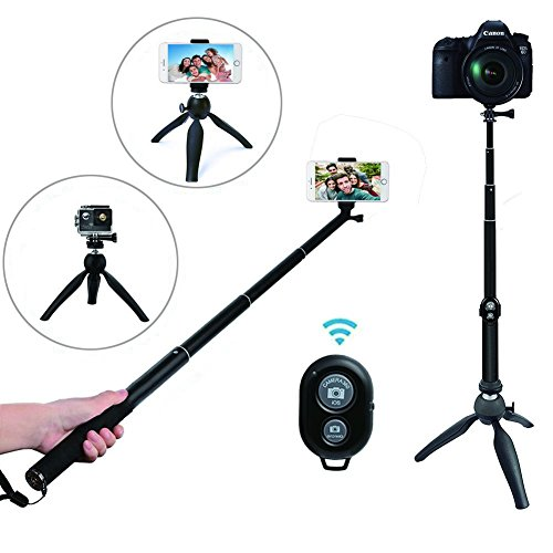 Bluetooth Selfie Stick Tripod with Remote for iPhone 6 6s 7 7plus 8 8plus Android Samsung Galaxy Note 3.5-6 inch Screen iPhone Tripod LEXGO Extendable Monopod Mini Pocket Selfie Stick 360°Rotation, Black