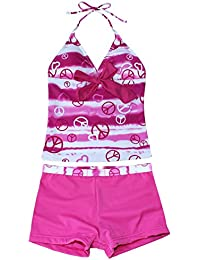 Freebily Ropa Traje de Baño Bañador Tankini de Dos Piezas Cuello Halter para Niña Chica (7 a 16 años) Natación