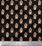 Soimoi Basset Hound Dog Print 180 GSM Naehen 60 Zoll Breite 2-Wege Stretch SAMT Stoff Durch Das Meter - Schwarz