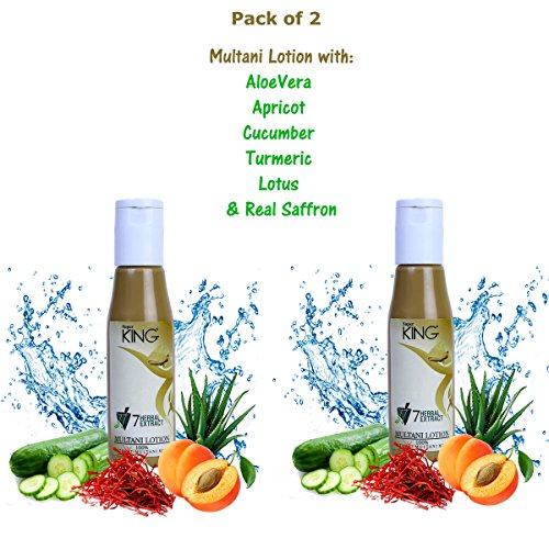 Super King (Aloevera, Apricot, Haldi, Lotus, Cucumber) Multani Mitti Lotion Pack with 7-Herbal Extracts & Saffron,(SLES sulfate free), 120ml (Pack of 2)  available at amazon for Rs.675