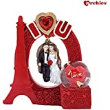Archies Polyresin Love Figurine in Swing with Water Ball | Decorative Red Eiffel Tower Lighting Showpiece | Gift (H - 20 Cm)