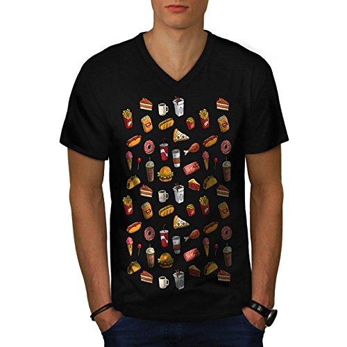 snack-collection-art-food-joy-men-new-black-l-v-neck-t-shirt-wellcoda