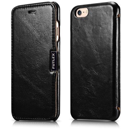 FUTLEX Premium-Folio-Hülle aus Leder, kompatibel mit iPhone 6 / 6S - Klapphülle aus echtem Vintage-Style-Leder mit Magnetverschluss - Vollständiger Schutz - Schwarz
