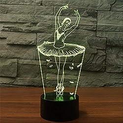 Lámpara 3D Illusion Novedad Luz Led Óptica 7 Colores Cambio Ballet Dancer Girl Light Touch Interruptor Mesa Lámparas de Escritorio Para Niños Dormitorio Regalos de Cumpleaños