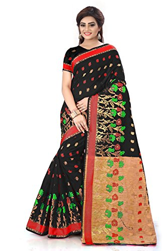 Royal Export Women\'s Black Cotton Silk Saree