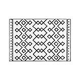 Zhang Xiao Hong Shop Teppiche Teppich runder Polyester Ethno-Totemdruck waschbar Modellraummatte (Color : Black, Size : 160 * 230cm)