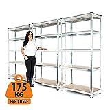 Estantería resistente de 3 compartimentos galvanizados para garaje de 175kg de carga por estante (5niveles de 1800mm de alto x 900mm de ancho x 400mm de profundidad)