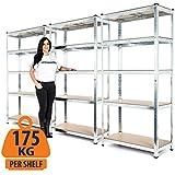 Estantería resistente de 3 compartimentos galvanizados para garaje de 175kg por estante (5niveles de 1800mm de alto x 900mm de ancho x 400mm de profundidad)