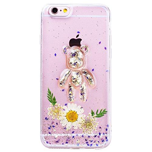 WE LOVE CASE iPhone 6 Plus / 6s Plus Hülle Blumen Echt und Bär Transparent Glitzern iPhone 6 Plus / 6s Plus Hülle Silikon Weich Lila Handyhülle Tasche für Mädchen Elegant Backcover , Soft TPU Flexibel white