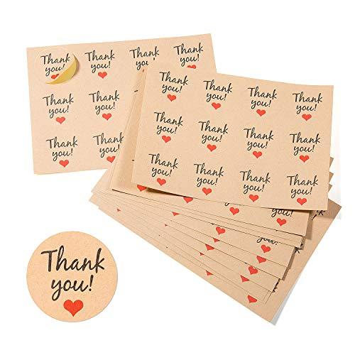Vordas 600pcs Adesivi Grazie Compleanno, Adesive Rotonde Thank You Grazie Sticker Tag for Bomboniere, Matrimonio, Compleanno, Ringraziamento Matrimonio Grazie (50 Fogli)