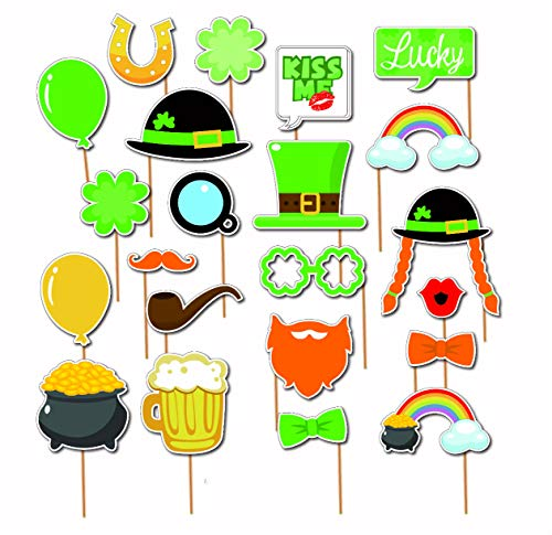 7-gost 22 Stück St. Patrick's Day Party Supplies Dekorationen Irish Party Bier Masken Foto Booth Rep