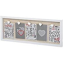 Portafotos con pinzas blanco lino-mdf 72,20 x 3 x 24,20 cm .