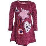 Mädchen Extra Strick Pullover Shirt Long Bluse Langarm Sweatshirt Shirt 20926, Farbe:Pink;Größe:152