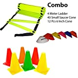The YoYo Mart Combo Of Flat Regular Adjustable Speed Agility Ladder (4M With 10 Rungs) And Pack Of 12 Marker Cones (6 Inch) For Soccer Cricket Track And Field Sports And Saucer Cones Set Of (40) | Plastic Space Marker Multicolour | Super Speed Agility Lad