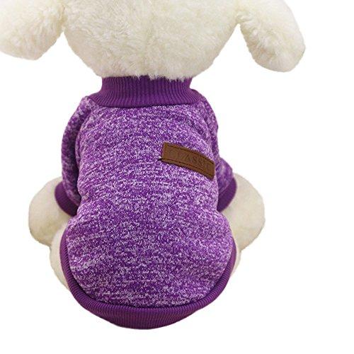 Kleider Hund (♥ Loveso ♥-Huastier Hunde Kleider Bekleidung 8 Farben Hundewelpen Haustier klassische Vlies Winter warme Strickjacke Kleidung (♥ Größe:M,)