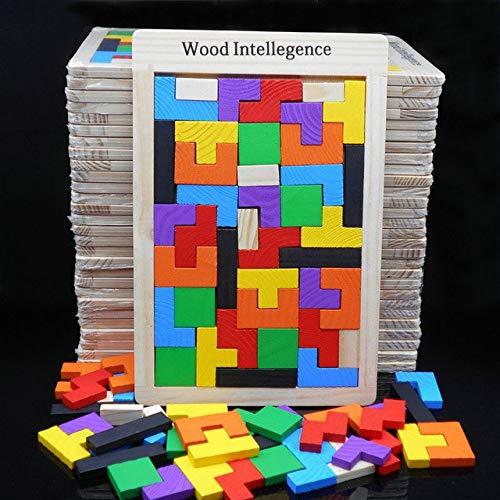 DishyKooker per Bambini in Legno intelligenza Blocco, Bambini Giocattoli educativi Blocchi, Multi-Funzione Tetris Blocks Pine