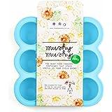 Mushy - Recipiente de silicona para congelar la comida del bebé (9 huecos, incluye un ebook de recetas)