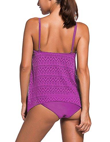 FLYILY Donna Costume da Bagno 2 pezzi Tankini Plus Size Con M-4XL Purple