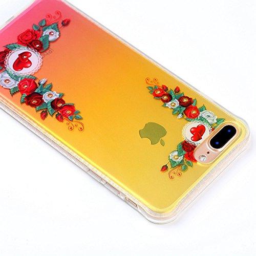 iPhone 7 Plus Custodia Diamante Bling,iPhone 7 Plus Cover in Silicone,Etsue 2017 Neo Disegni Donna Ragazza Cristallo Bling Scintillante Diamante Bella Elegante Romantico Fiori di Ciliegio Modello Tras Rossa Fiori