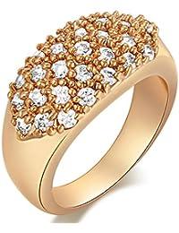 EOZY Bague Femme Or 24 Zircon Bijoux Lady Jewelry Fille Noël Valentin Mariage