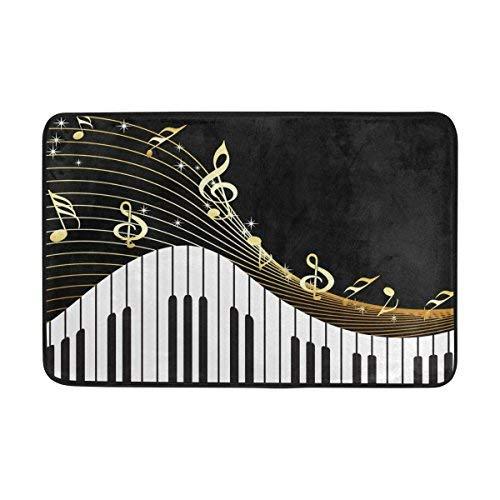 ALAZA Oro Note Musicali Piano Nero zerbino Indoor Outdoor Entrance Tappetino da Bagno 59,9x 39,9cm