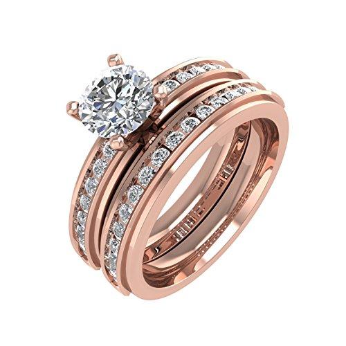 Diamond Delight  -  Gold 14 Karat (585)  14ct Roségold Rundschliff   Feines Weiß/Top Wesselton (G) - Weiß/Wesselton (H) Diamant  (Diamond 4-karat-ehering-sets)
