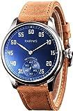 PARNIS 2146 mechanische Herrenuhr Handaufzug Edelstahl Armband-Uhr SeaGull ST36 Mineralglas Zwiebelkrone Lederarmband verglaster Rückboden