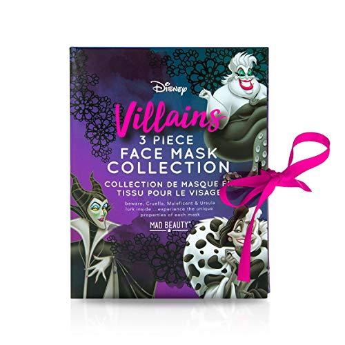 Mad Beauty Disney Gesichtsmaske Set: 3 Tuchmasken von Disney Bösewichten: Ursula die Meerhexe aus Arielle, Cruella de Vil aus 101 Dalmatiner und Maleficent als Tuchmaske für eine gepflegte Haut