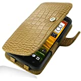 HTC OneX+ Leather Case - Book Type (Brown Crocodile Pattern) by Pdair