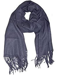 Pashmina-Schal, übergroß, Halstuch, Tuch, Viskose mit Kaschmir,super weiche Qualität, Farben, 190 x 70 cm, mit feinen Fransen