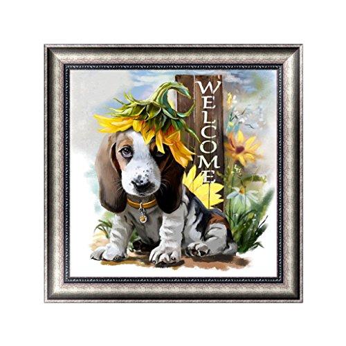qisuw DIY 5D Diamant (Welcome Hund) -embroidery Strass Gemälde Kreuzstich Naht Home Wand Art Decor Näharbeit