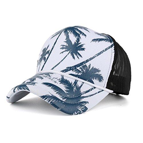 Goodsatar Ajustable Mujer Hombres Árbol de coco Impresión Gorra de beisbol Snapback Hip hop Sombrero plano