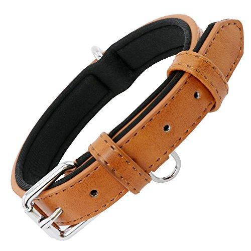 Grand Line Collier de Chien Ajustable Coussin Moelleux Cuir Rembourré avec Perforatrice 1 Couleur 4 Tailles, Marron