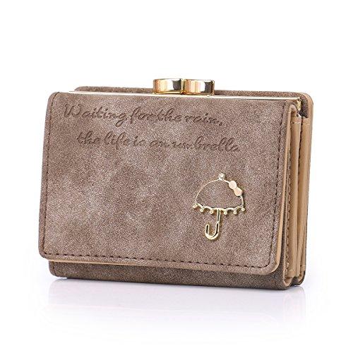 APHISONUK Damen Geldbörse aus Nubukleder Kartenhalter süß kleine Geldbeutel für Lady Kiss Lock Geschlossene/Geschenk für Mädchen (Geschenkbox) -