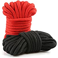 LIHAO 2x 10m Bondageseil Bondage Seile Fesselseil BDSM Schwarz Rot
