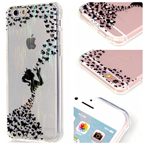 iPhone 6S Plus Hülle Case,Gift_Source [Magpie] [Satin Finish] [Drop Protection] Luxury Brushed Satin design Flexible Silicone Soft TPU Transparent mit Dust Plugs Hülle Case für iPhone 6s Plus / 6 Plus E01-04-Butterfly girl